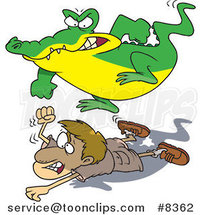 Cartoon Crocodile Stomping on a Hunter by Toonaday