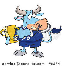 Cartoon Sports Bull Holding a Trophy Cup by Toonaday