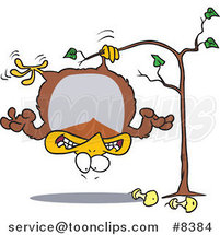 Cartoon Fat Partridge Hanging Upside down in a Pear Tree by Ron Leishman