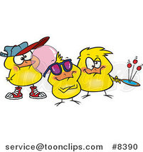 Royalty-Free (RF) Clip Art Illustration of Cartoon Chick Peeps by Ron Leishman