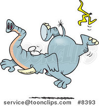 Cartoon Elephant Slipping on a Banana Peel by Toonaday