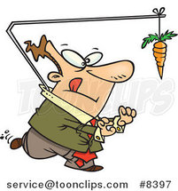 Cartoon Business Man Chasing a Carrot Lead by Ron Leishman