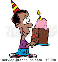 Cartoon Black Birthday Boy Holding a Slice of Cake by Ron Leishman