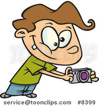 Cartoon Boy Using His Camera by Ron Leishman