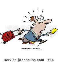 Cartoon Late Traveler Guy Running and Pulling His Luggage at the Airport by Ron Leishman