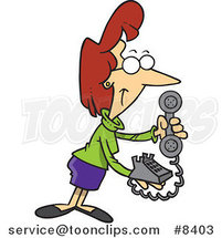 Cartoon Business Woman Holding a Desk Phone by Toonaday
