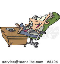 Cartoon Chatty Business Man with His Feet on His Desk by Ron Leishman