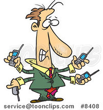 Cartoon Business Man Handling Multiple Cell Phones by Ron Leishman