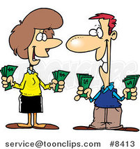 Cartoon Wealthy Couple Holding Cash by Ron Leishman