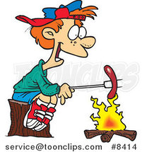 Cartoon Boy Roasting a Weenie over a Campfire by Ron Leishman