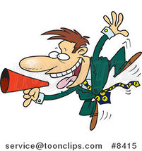 Cartoon Business Man Using a Megaphone by Ron Leishman