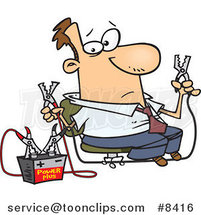 Cartoon Business Man Using Jumper Cables by Ron Leishman