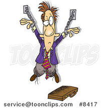 Cartoon Chained Business Man by Ron Leishman