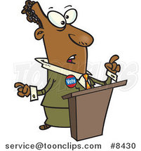 Cartoon Black Politician at a Podium by Ron Leishman