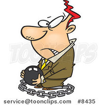Cartoon Chained Business Man Carrying a Ball by Ron Leishman