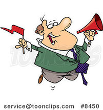 Cartoon Business Man Waving a Flag and Using a Megaphone by Ron Leishman