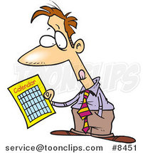 Cartoon Business Man Holding a Calendar by Ron Leishman