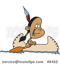 Cartoon Native American Boy in a Canoe by Ron Leishman