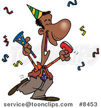 Cartoon Black Business Man Celebrating at a Party by Ron Leishman