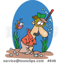 Cartoon Guy Wearing a Snorkel Mask and Golfing Underwater by Ron Leishman