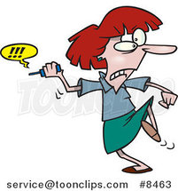 Cartoon Business Woman Fed up with Her Cell Phone by Ron Leishman
