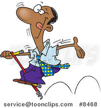 Cartoon Carefree Black Business Man Jumping on a Pogo Stick by Ron Leishman