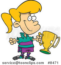 Cartoon Soccer Girl Holding a Trophy by Ron Leishman