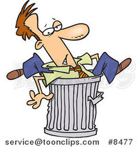 Cartoon Canned Business Man Stuck in a Garbage Can by Ron Leishman