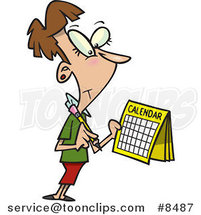 Cartoon Business Woman Marking Her Calendar by Toonaday