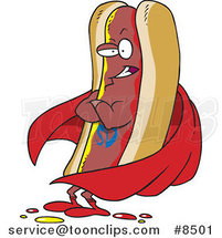 Cartoon Super Hot Dog by Ron Leishman
