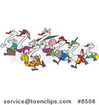 Royalty-Free (RF) Clip Art Illustration of Cartoon Seven Swans Going Swimming by Ron Leishman