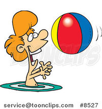 Cartoon Boy Playing with a Beach Ball in the Water by Ron Leishman