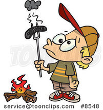 Cartoon Boy Holding a Burnt Weenie over a Fire by Toonaday
