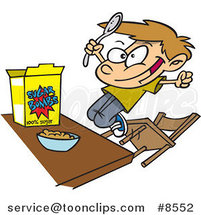Cartoon Boy Eating Sugary Cereal by Ron Leishman