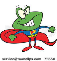 Cartoon Super Frog by Ron Leishman