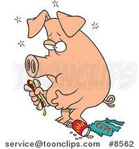 Cartoon Stuffed Pig Eating Junk Food by Ron Leishman
