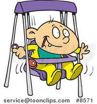 Cartoon Happy Baby Boy in a Swing by Ron Leishman