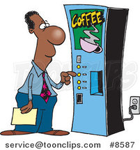 Cartoon Black Business Man Using a Coffee Machine by Ron Leishman