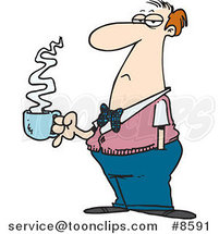 Cartoon Bored Business Man with Coffee by Toonaday