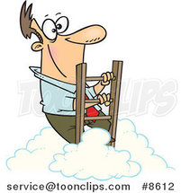 Cartoon Successful Business Man Climbing Above the Clouds by Ron Leishman