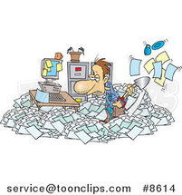 Cartoon Business Man Shoveling Through His Office Clutter by Toonaday