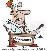 Cartoon Beat up Business Man at a Complaints Desk by Ron Leishman