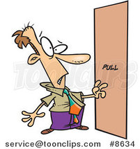 Cartoon Business Man Facing a Door Without a Handle by Ron Leishman