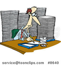 Cartoon Business Man Surrounded by Paperwork by Ron Leishman