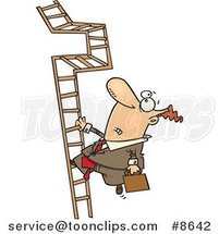 Cartoon Business Man Climbing a Convoluted Ladder by Ron Leishman