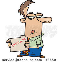 Cartoon Business Man Stealing a Confidential Folder by Ron Leishman