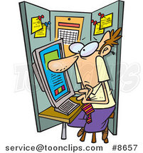 Cartoon Business Man Crammed in a Cubicle by Ron Leishman
