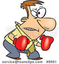 Cartoon Confrontational Business Man Wearing Boxing Gloves by Ron Leishman