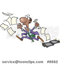 Cartoon Black Business Man Chasing After Paperwork by Ron Leishman