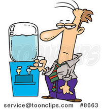 Cartoon Business Man by a Water Cooler by Ron Leishman